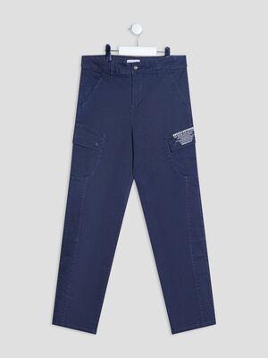 Pantalon cargo bleu marine garcon