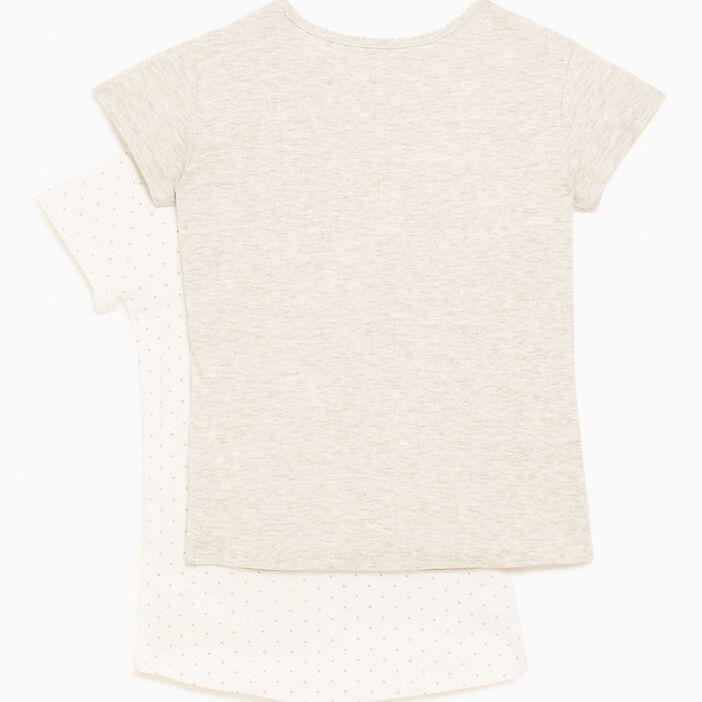 Lot 2 t-shirts manches courtes fille gris