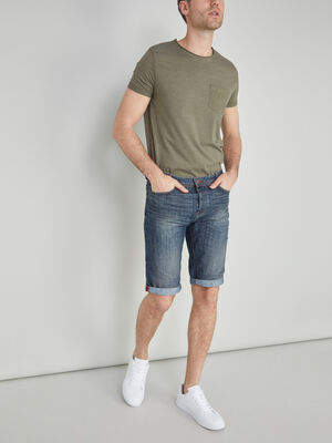 Bermuda jean delave avec revers denim dirty homme