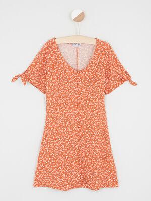 Robe fluide fleurie orange fonce fille