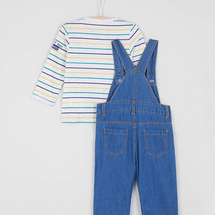Ensemble t-shirt et salopette bébé garçon multicolore