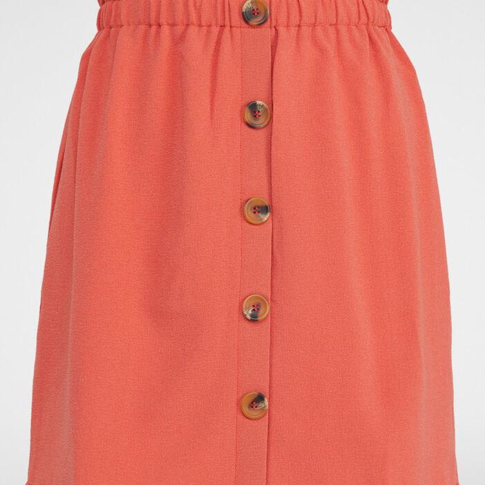 Jupe boutonnée unie femme orange foncé
