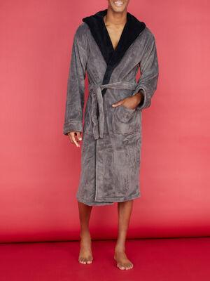 Peignoir bicolore avec poches plaquees gris fonce homme