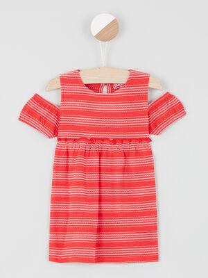 Robe imprimee epaules apparentes rouge fille