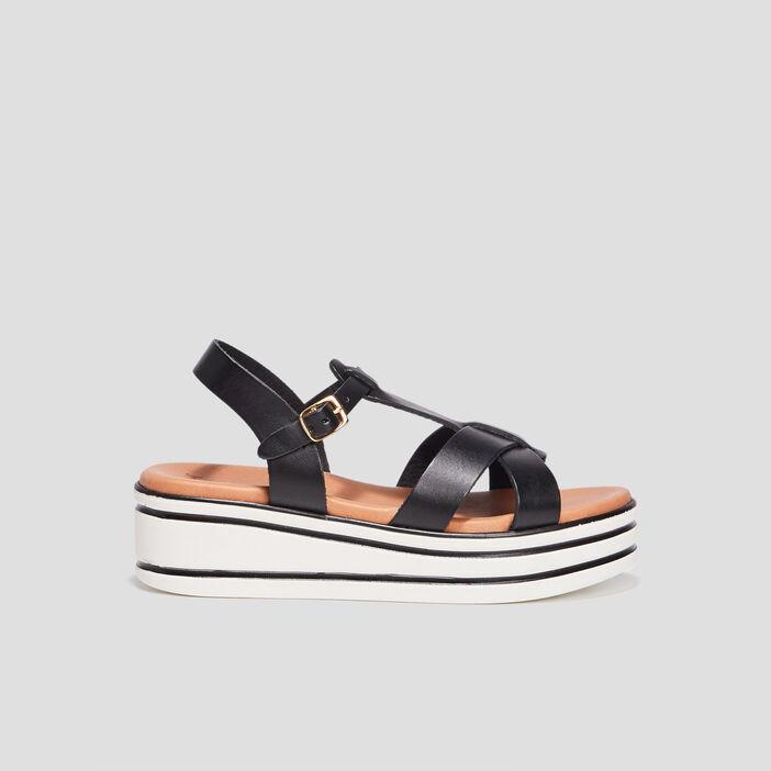 Sandales compensées fille noir