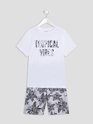 Ensemble pyjama 2 pieces blanc garcon