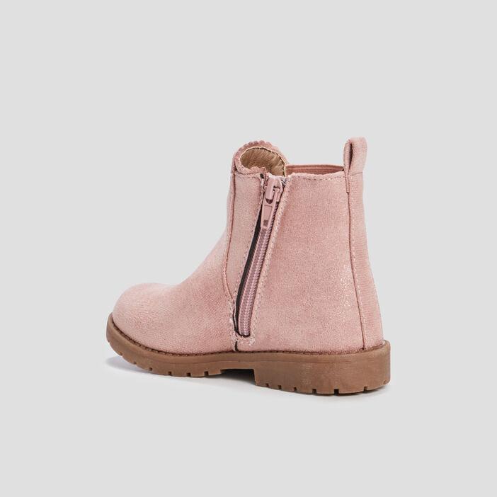 Bottines zippées crantées fille rose