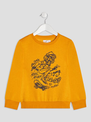 Sweat manches longues jaune moutarde garcon