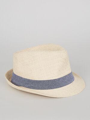 Chapeau trilby avec ruban beige garcon
