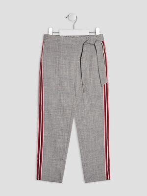 Pantalon droit avec bandes gris fille