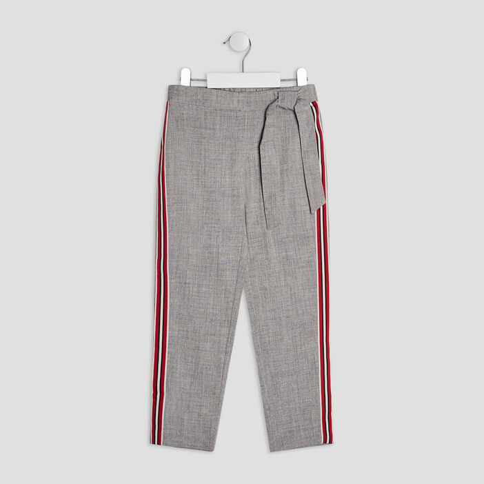 Pantalon droit avec bandes fille gris