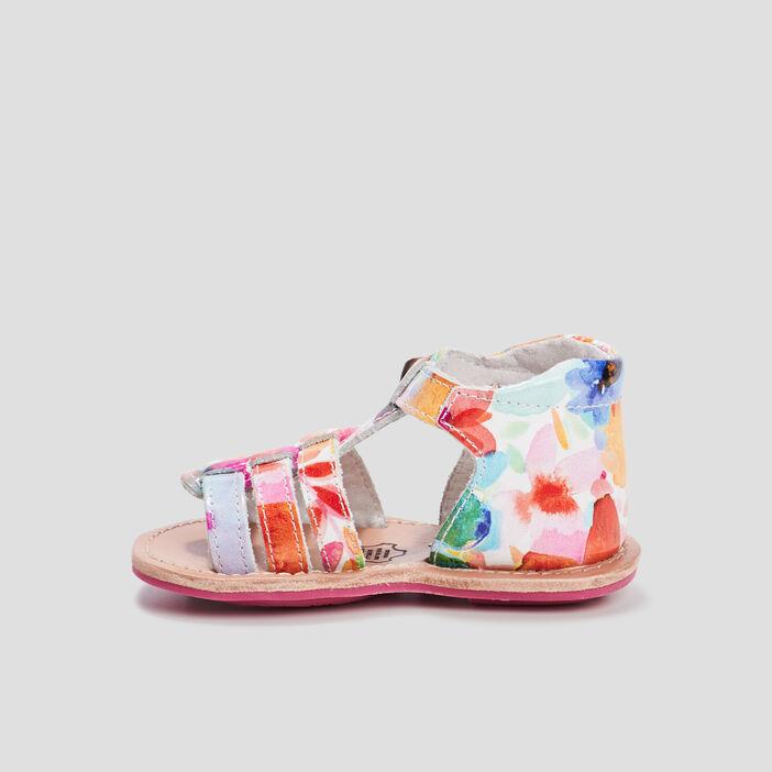 Sandales en cuir bébé fille multicolore
