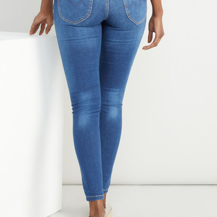 Jean skinny taille basse femme denim double stone