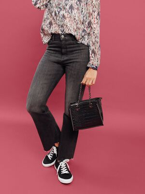 Jeans flare denim gris femme