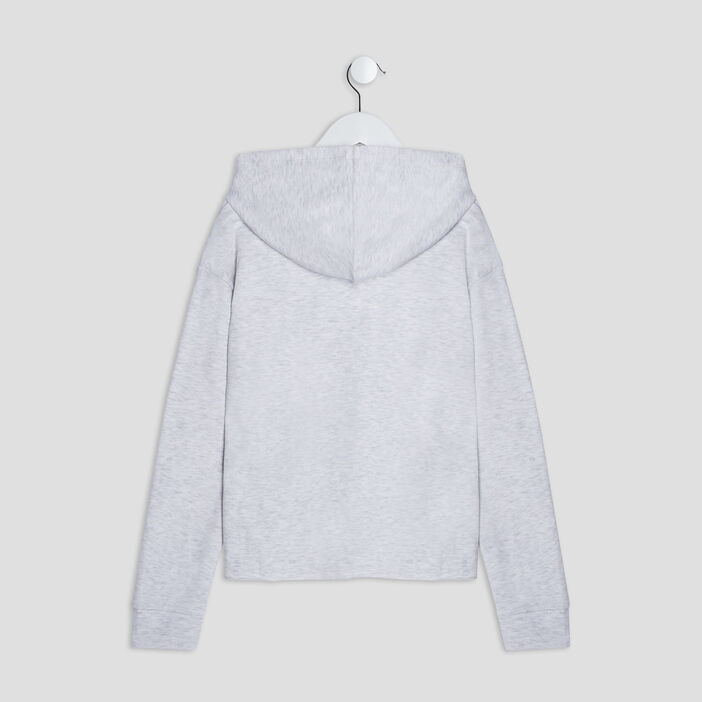 Sweat à capuche fille gris clair