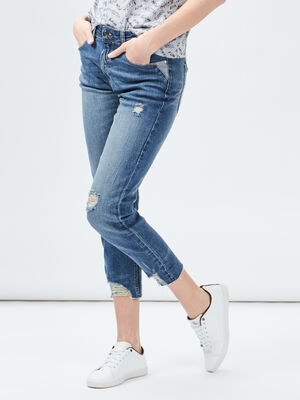 Jeans straight destroy Creeks denim dirty femme