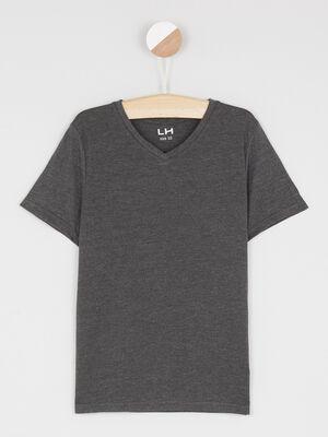 T shirt manches courtes gris fonce garcon