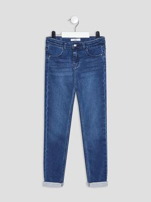 Jeans skinny taille ajustable denim stone fille