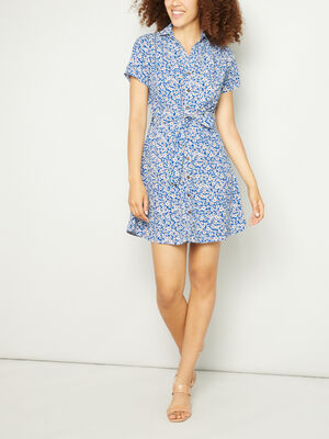 Robe chemise a fleurs ceinturee bleu femme