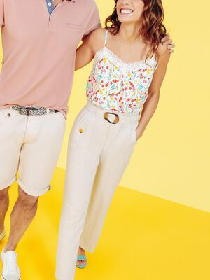 Pantalon droit fluide ceinture ecru femme