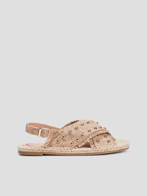 Sandales details cloutes beige femme