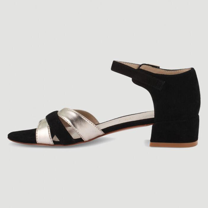 Sandales bicolores à talon carré femme noir