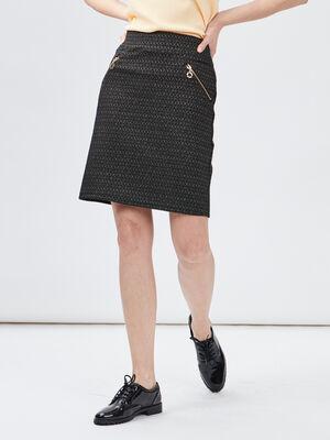 Jupe droite details zippes gris fonce femme