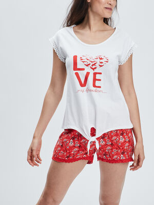 Ensemble pyjama 2 pieces blanc femme