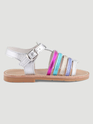 Spartiates multicolores en cuir irise multicolore fille