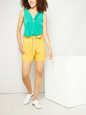 Short paperbag boutonne jaune moutarde femme