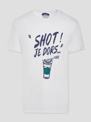 T shirt message place devant blanc homme
