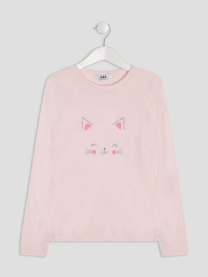 Pull manches longues rose clair fille