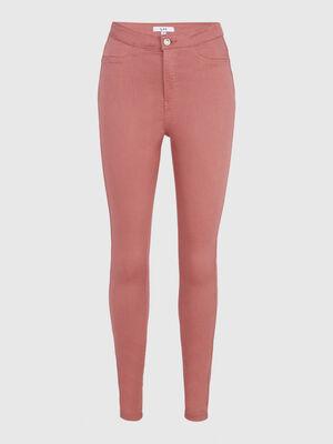 Pantalon uni coupe slim parme femme