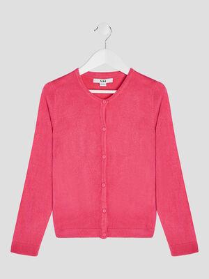Gilet manches longues boutonne rose fushia fille