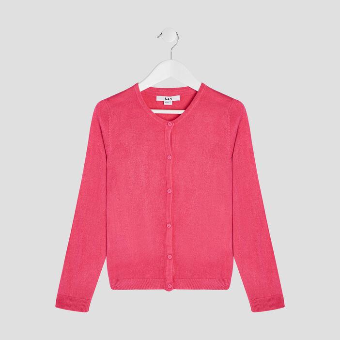 Gilet manches longues boutonné fille rose fushia