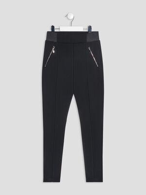 Leggings details zippes noir fille
