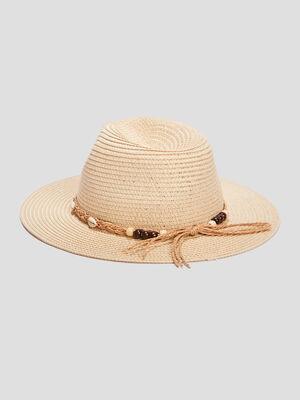 Chapeau avec coquillages beige femme