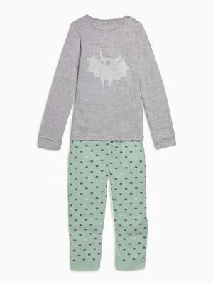 Pyjama manches longues imprime vert fille