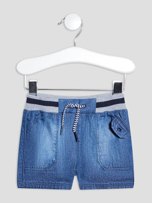 Short droit en jean denim double stone bebeg