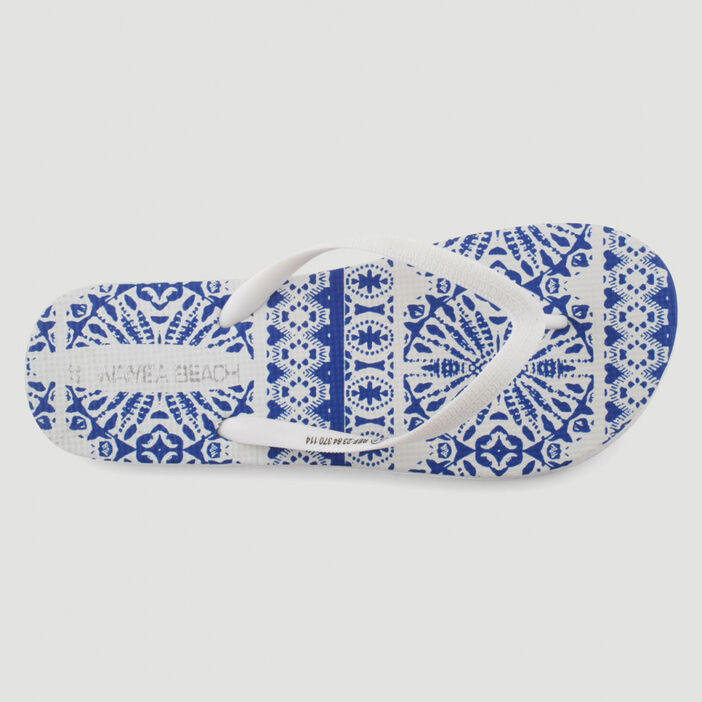 Tongs avec motifs azulejos femme blanc