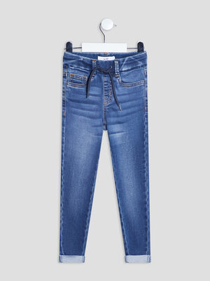 Jeans slim taille a coulisse denim stone garcon