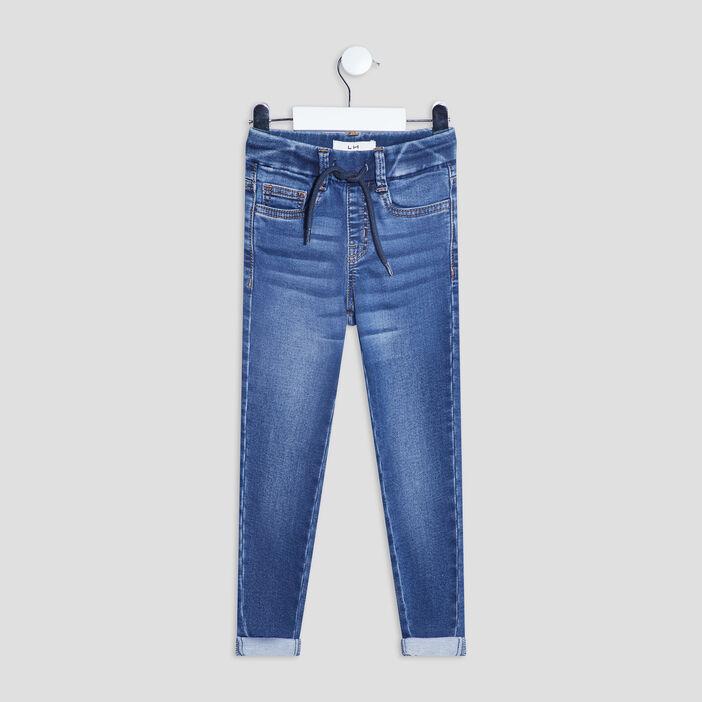 Jeans slim taille à coulisse garçon denim stone