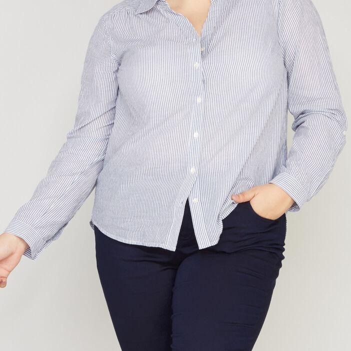 Chemise en coton rayée femme grande taille bleu