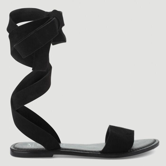 Sandales suédées à nouer cuir femme noir