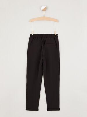 Pantalon avec galon cote noir fille
