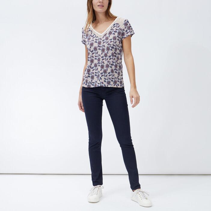 T-shirt manches courtes femme ecru