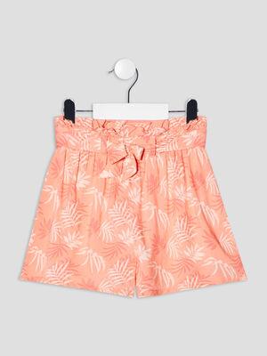 Short droit fluide orange corail fille