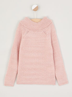 Pull a large col montant rose clair fille