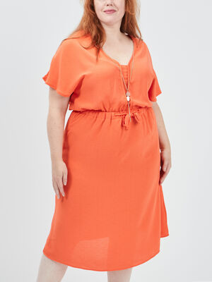 Robe droite taille a coulisse rouge corail femmegt