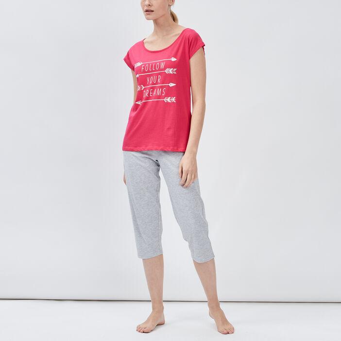 Ensemble pyjama 2 pièces femme rose fushia